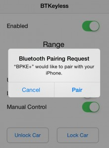 Bluetooth Keyless Pairing